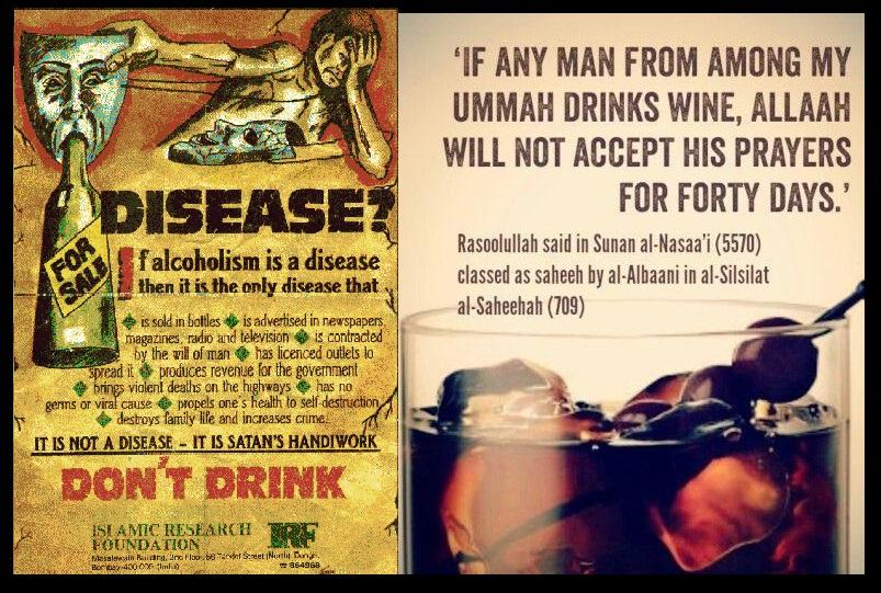 Islam prohibits alcohol
