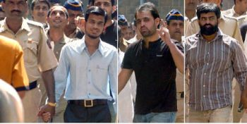 21 Indian Mujahideen men, accused in various serial bomb blast cases, being taken to the Maharashtra Control of Organised Crime Act court in Mumbai on 17-02-2009