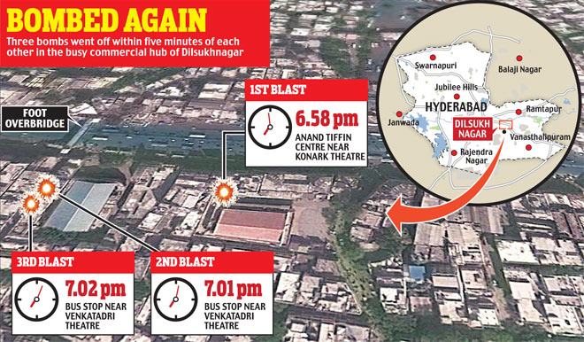 Hyderabad blasts - locations with time