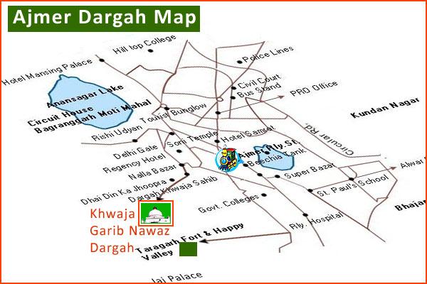 Ajmer-dargah-map