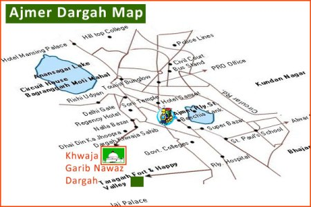 Ajmer-dargah-map
