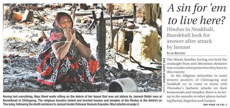 Hindu woman wails after her house looted and torched