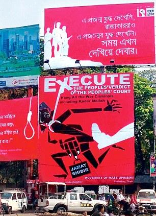 The peoples verdict -Giant hoardings demand the hanging of war criminals