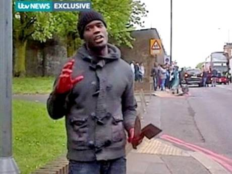 London terrorist speaking with axe and blood
