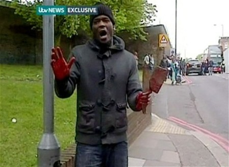 London terrorist speaking with axe and blood2