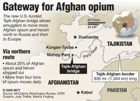 Afgan opium crossing borders