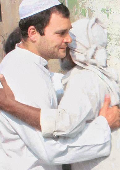 Rahul Gandhi with Muslim cap. beard