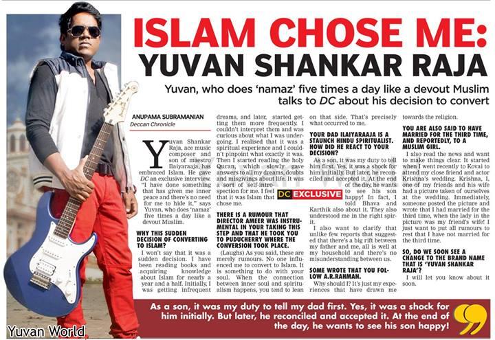 Deccan chronicle Yuvansankar raja conversion