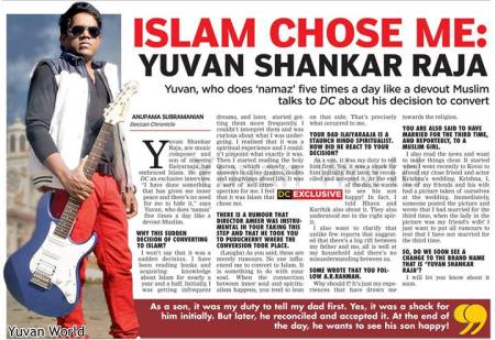 Deccan chronicle Yuvansankar raja conversion