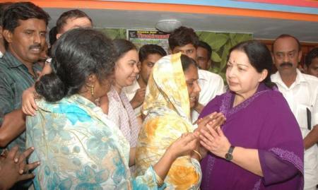 Jaya with wives of Mariyam Pitchai