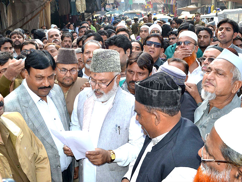 Members of the Muslim community stage a protest against alleged forced conversion of 300 people, in Agra on Wednesday Raju Tomar- HT Photo
