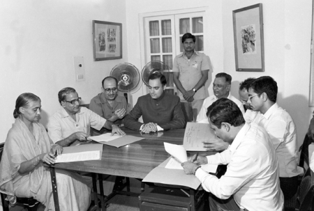 Photo taken on the occasion of signing of memorandum of settlement on the Assam problem between the Government representatives and representatives of the All Assam Students Union and the all Assam Gana Sangram Parishad in New Delhi on August 15, 1985.