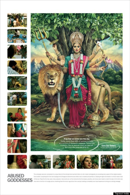 Anti-domestic violence campaign - Durga -  depiction
