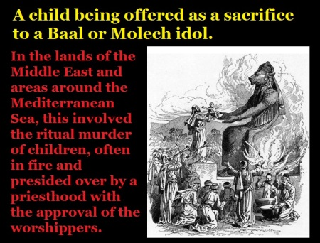 A child being offered as a sacrifice to a Molech idol.