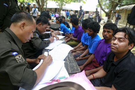 Rohingya Muslims found on boat rescued by Myanmar navy