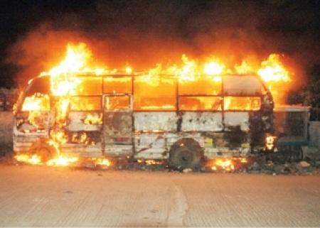 Ambur riot - vehicle burnt