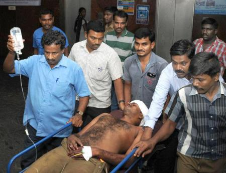 Prison warden Muthumani, who was reportedly hit with a carom board, got 20 stitches — Photo-B. Jothi Ramalingam-the hindu