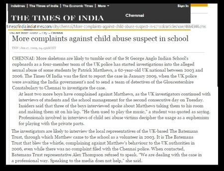 Mathews abused 9 students TOI June.17, 2009