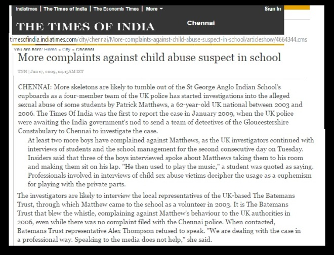 Mathews abused 9 students TOI June.17, 2009