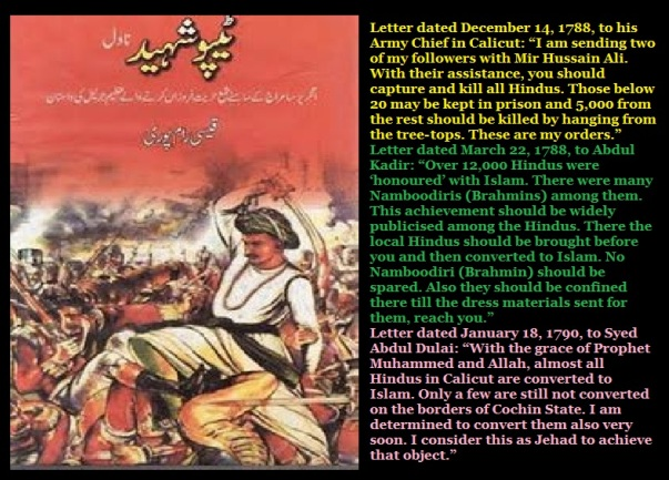 Tipu letters - cap or sword policy followed