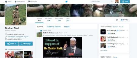 Burhan supporting Zakir Naik - twitter