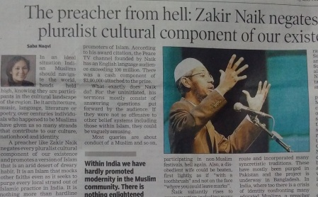 Saba Nazvi article on Zakir Naik-cutting