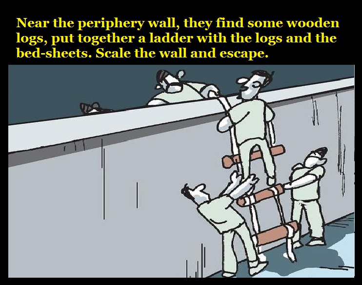 near-the-periphery-wall-they-find-some-wooden-logs-put-together-a-ladder-with-the-logs-and-the-bed-sheets-scale-the-wall-and-escape