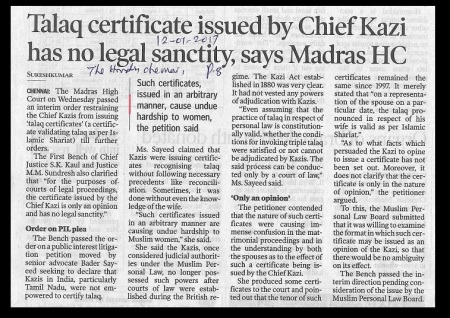 triple-talaq-certificate-issued-by-chief-kazi-illegal-the-hindu-12-01-2017