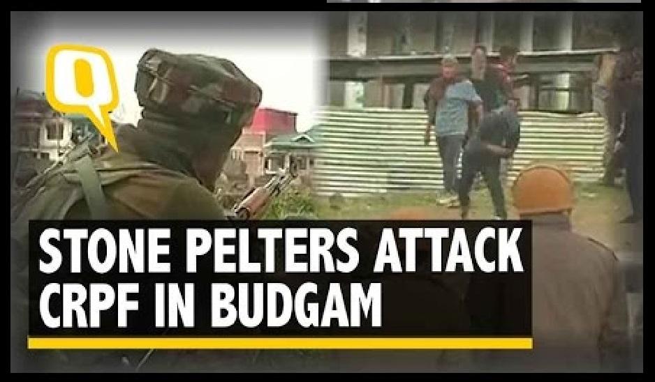 CRPF-attacked -stonepelting- budgam