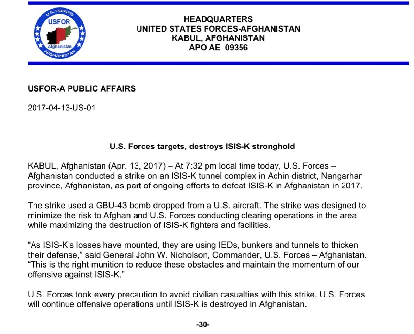 US official report of bombing Afganistan on 13-04-2017