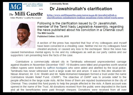 Jawahirullahs clarification - 09-10-2011- Milli Gazette