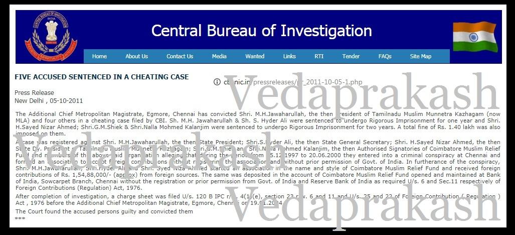 M H Jawahirullah and four others - CBI charge sheet - 05-10-2011-VP