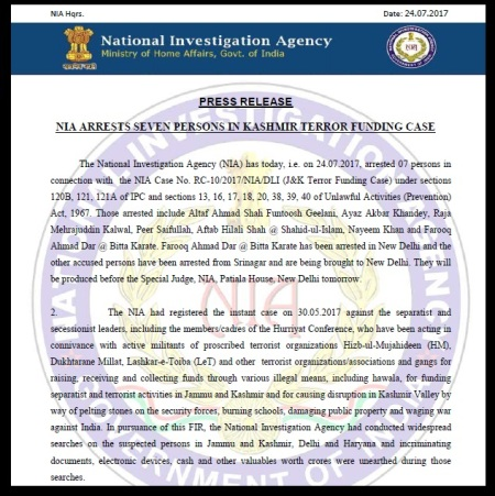NIA arresred 7 in Kashmir terror fund case - 434_1_PressRelease24-07-2017