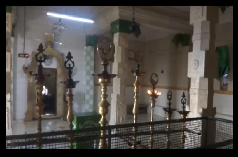 Sikandar Dragah - Tirupparangundram.interior with pillars, lamps