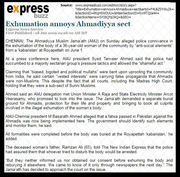 Ahmadiyya body exhumed in Chennai IE_08-06-2009.