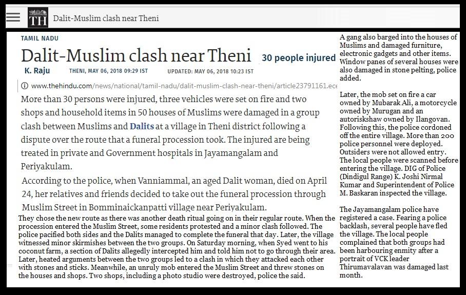 Dalit-muslim clash near Theni, The Hindu 06-05-2018