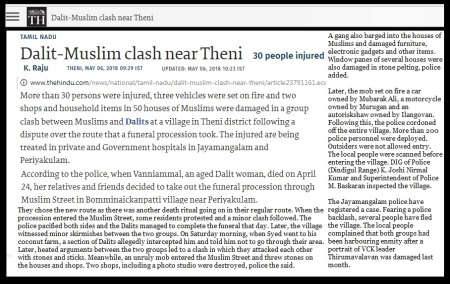 Dalit-muslim clash near Theni, The Hindu 06-05-2018