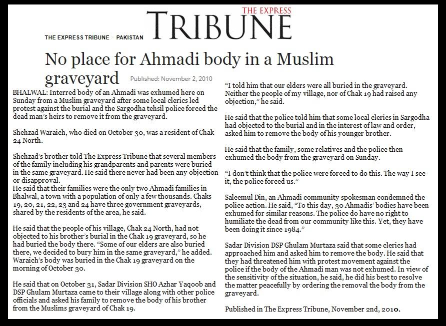, No place for Ahmadi body in a Muslim graveyard, Pakistan 2010