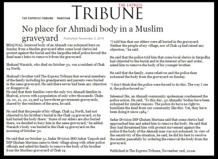 , No place for Ahmadi body in a Muslim graveyard, Pakistan 2010