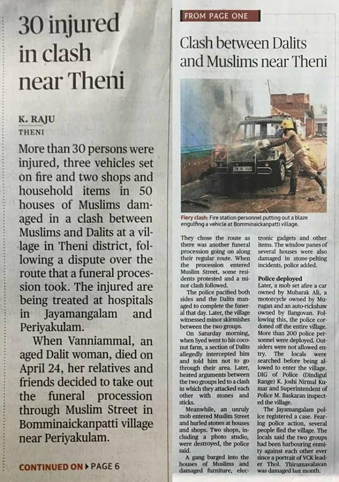 Periyakulam, Muslims attack Hindu houses-news cutting english