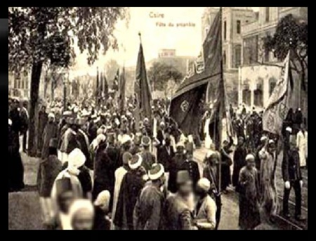 Bara Rabi Awwal how celebrated - Boulac Avenue in 1904 at Cairo, Egypt.