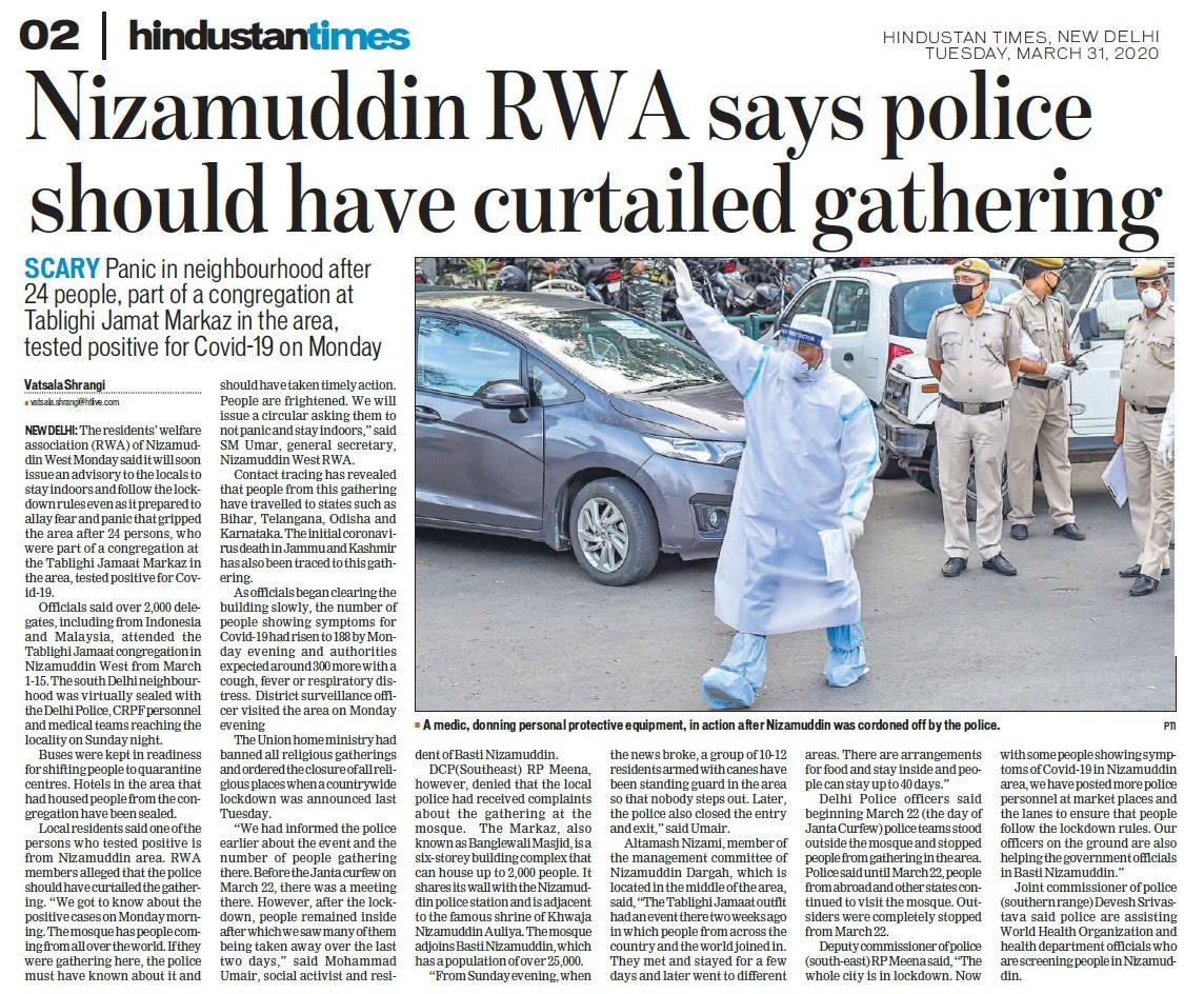 Nizamuddhin congregation must have been banned,Hindustan Times 31-03-2020