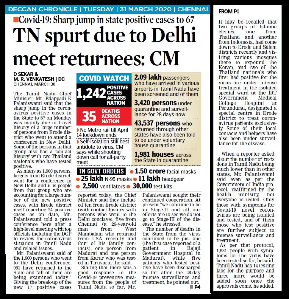 Nizamuddhin effect, Deccan Chronicle, 31-03-2020