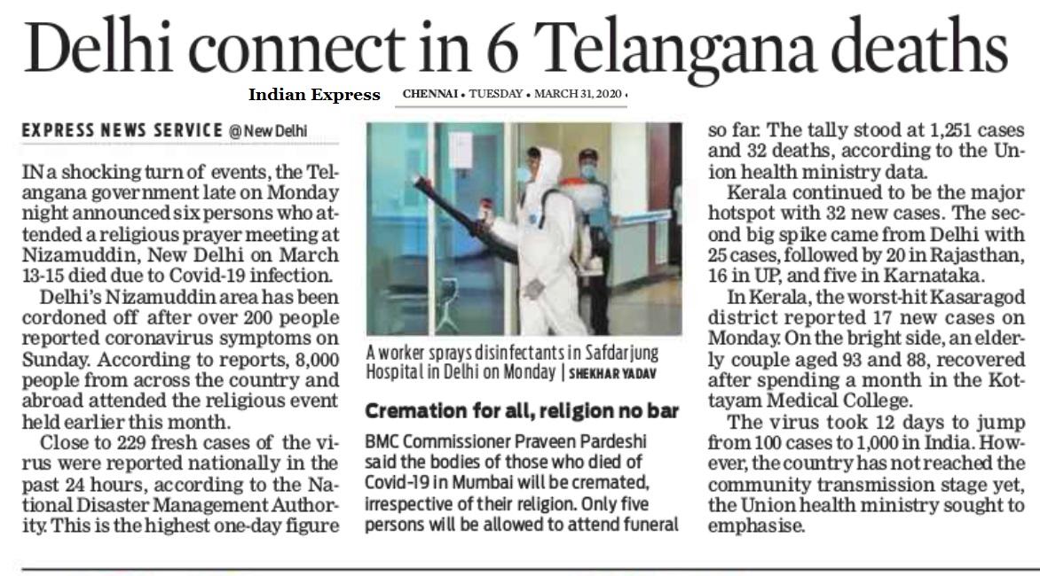 Nizamuddhin effect in Telangana, Indian Express, 31-03-2020