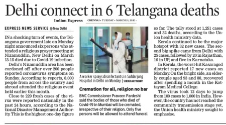 Nizamuddhin effect in Telangana, Indian Express, 31-03-2020