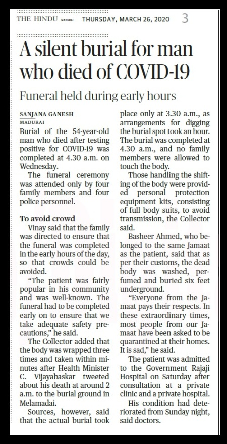 Silent burial for Madurai victim The Hindu 26-03-2020