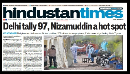 Tabliq virus spread from Nizamuddhin,Hindustan Times 31-03-2020