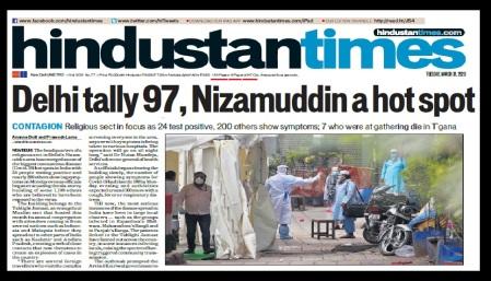 Tabliq virus spread from Nizamuddhin,Hindustan Times 31-03-2020