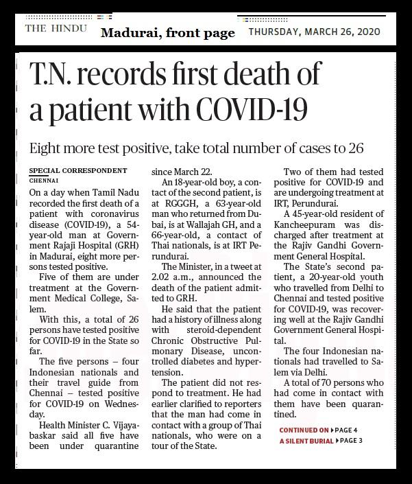 The carona first death -Madurai victim The Hindu 26-03-2020