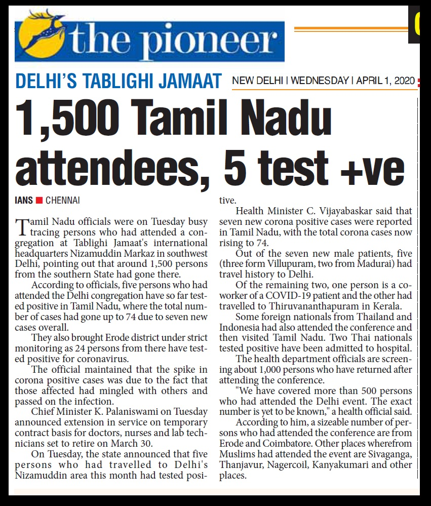 1500 from TN attended Tabliq, The Pioneer, 01-04-2020